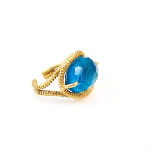 Chrysocolla and quartz gold plated silver ring