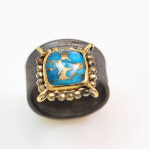 Gold plated &oxidized silver  with turquoise