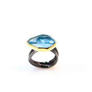 Aquamarine 18ct Gold & Rhodioum sterling silver ring