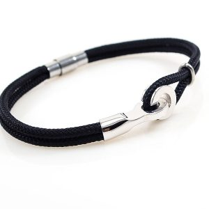 Men 925 silver Bracelet with Black Navy Rope