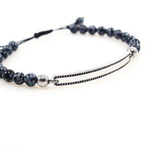 Men 925 silver Bracelet with Agate