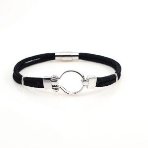 Black Navy rop  Men silver Bracelet