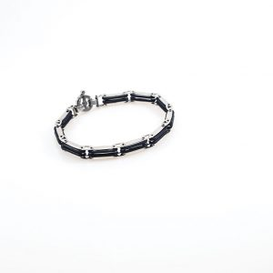 Steel and Black Ruber Men Bracelet
