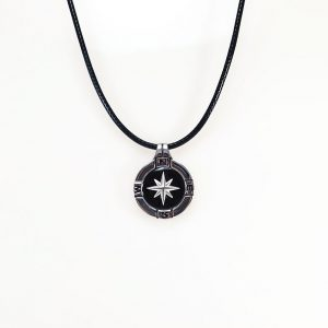 Silver 925 nautical compass with enamel &letheret cord