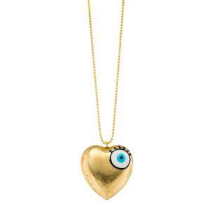 Evil Eye Enameled Brass Necklace