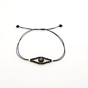 Gold plated silver bracelet with onyx