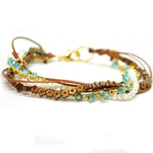 Silver gold plated crystal beads Bracelet