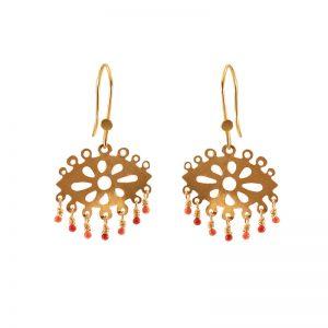 Laser cut hook earrings with enamel & gold plated silver