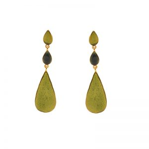 Three drops Earrings gold plated brass& enamel