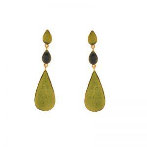 Three drops Earrings gold plated brass& enamel