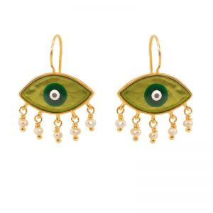 Evil Eye  gold plated silver  Earrings with enamel& beads