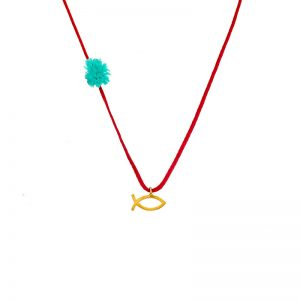 Gold  tiny fish  pendant with red thread