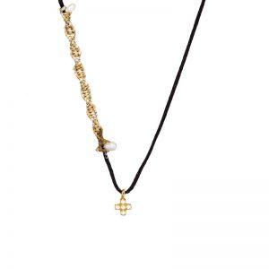 Gold  tiny cross pendant with zirgons & pearls