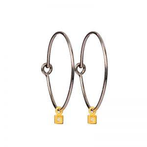 Silver and Gold  hoop earrings with zirgon
