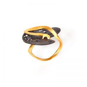 Handmade  Dublet Gold Plated  & Rhodium Brass Ring
