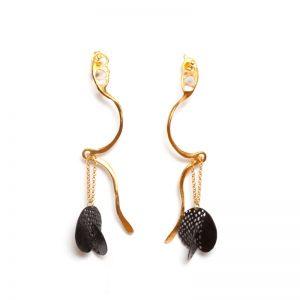 Handmade Gold Plated & Rhodium  Brass Earrings