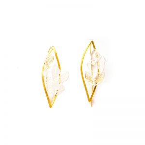 Handmade Brass Gold Plated  Earrings With Citrin