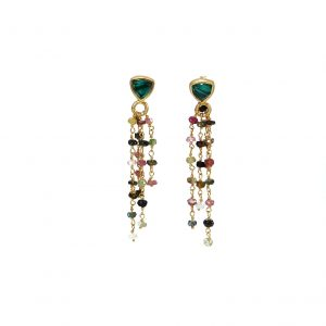 Malachite &tourmaline gold plated silver Earrings