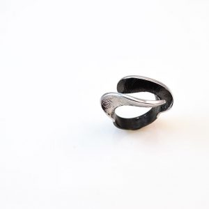 Rhodium&oxidised silver ring