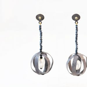 Long Oxidised silver earrings with fresh water pearls