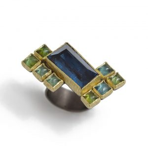 London Blue Topaz & tourmalines 18ct gold and silver ring