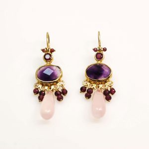Long gold plated silver earrings with amethyst