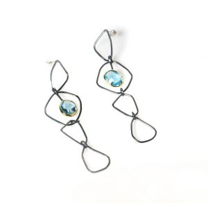 Long  Oxidised Silver & 18 ct Gold Earrings
