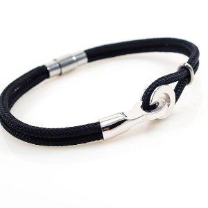 Men 925 silver Bracelet with Black Navy Rope