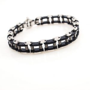 Carbon and Steel  Bicycle  chain Bracelet