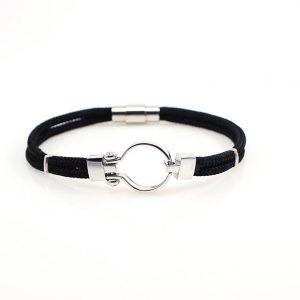 Black Navy rop  Men silver Bracelet