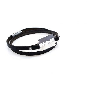 Steel Bracelet with Black Leather