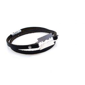 Steel Bracelet with Black Leather
