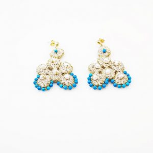 Handcrafted Earrings with pearls&turquoise