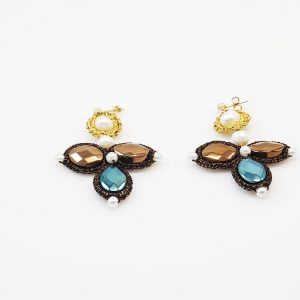 Handcrafted Earrings with pearls& crystals