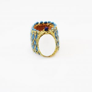 Handcrafted ring  with mother of pearl&lapis
