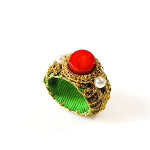 Handcrafted Ring with Coral