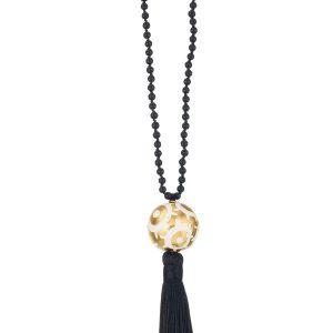Evil Eye Enameled Brass Necklace with semi precius stones