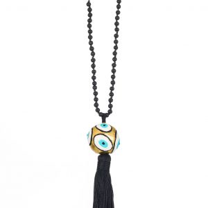 Evil Eye Enameled Brass Necklace with semi precius stones