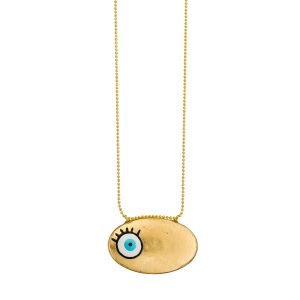 Evil Eye Enameled Brass Necklace
