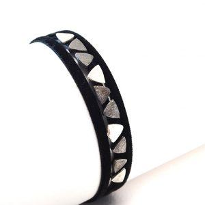 Adjastable  suede  cord  & oxidised  Silver Bracelet