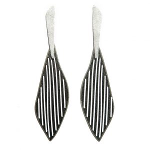 Long Gold plated & Oxidised  mat finishing Silver Earrings