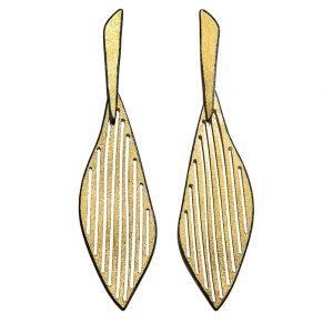 Long Gold plated & Oxidised Silver Earrings mat finishing
