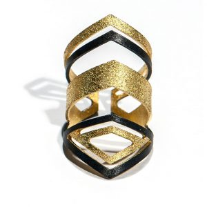 Long Goldplated  3 colors with mat finishing Silver Ring
