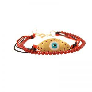 Evil Eye bead  bracelet with enamel & gold plated silver