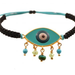 Evil Eye bead  bracelet with enamel & gold plated silver
