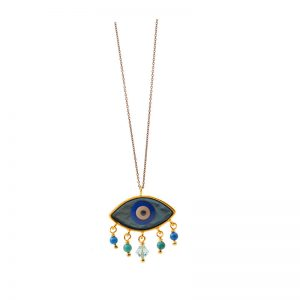 Evil Eye  gold plated silver  Necklace with ename l& beads