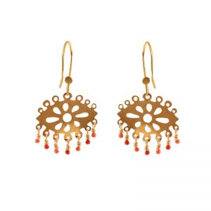Laser cut hook earrings with enamel & gold plated silver