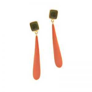 Two drops Earrings gold plated brass& enamel