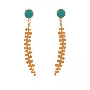 Long petal earrings enamel & gold plated silver