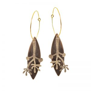 Long statement Leaf earrings with hooks